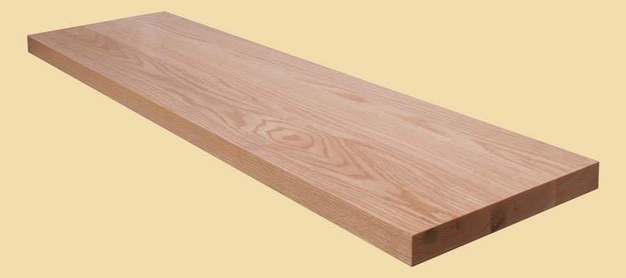 Red oak wide plank countertops country mouldings for Plank blocks