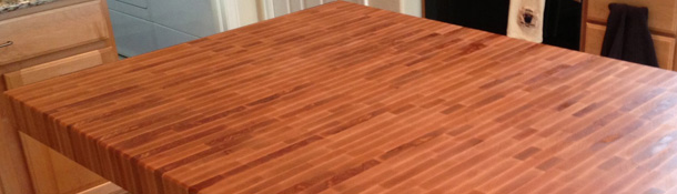 High quality end grain butcher block countertops in oak, poplar, American cherry, Brazilian cherry, maple, ash, walnut, knotty alder, beech, knotty pine, mahogany, hickory or Spanish cedar.