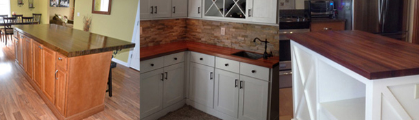 Order your butcher block countertop in oak, poplar, American cherry, Brazilian cherry, maple, ash, walnut, knotty alder, beech, knotty pine, mahogany, hickory or Spanish cedar.