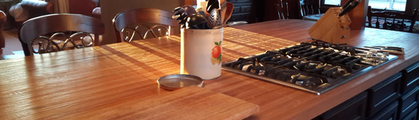 Hand scraped wood countertops are available in butcher block, end grain butcher block, and plank style.