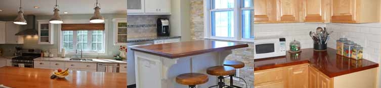 Plank Countertops in a variety of wood choices