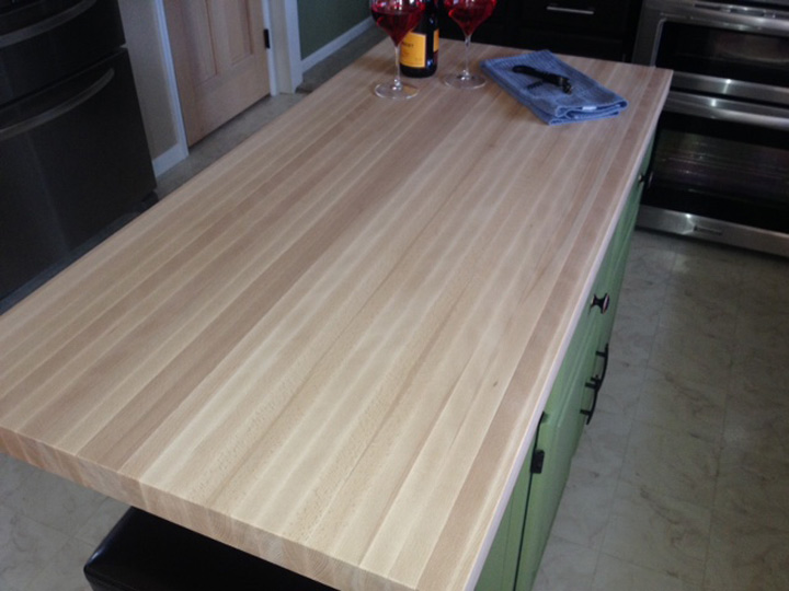 Beech butcher block countertops country mouldings