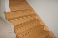 Prefinished hickory stair tread
