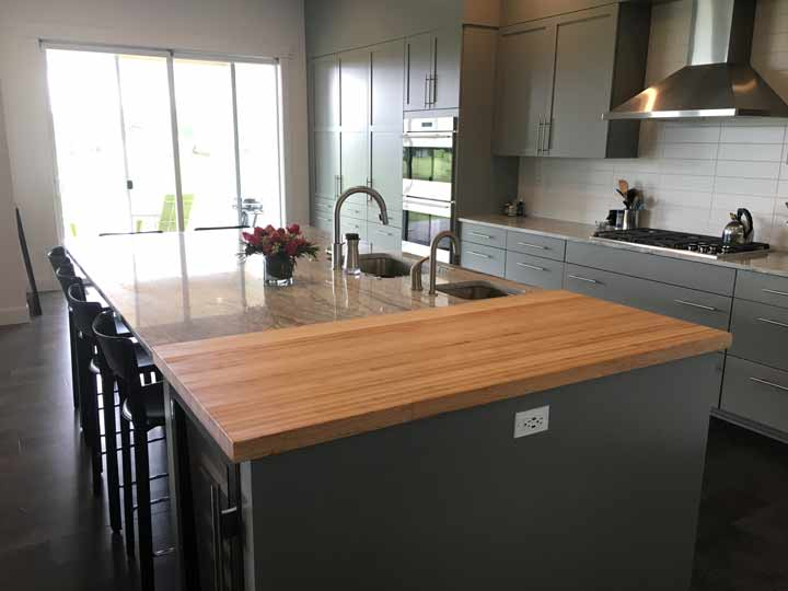Photo gallery butcher block countertops stair parts for Maple slab countertop