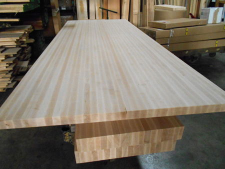 Photo gallery production pictures of butcher block for Maple slab countertop