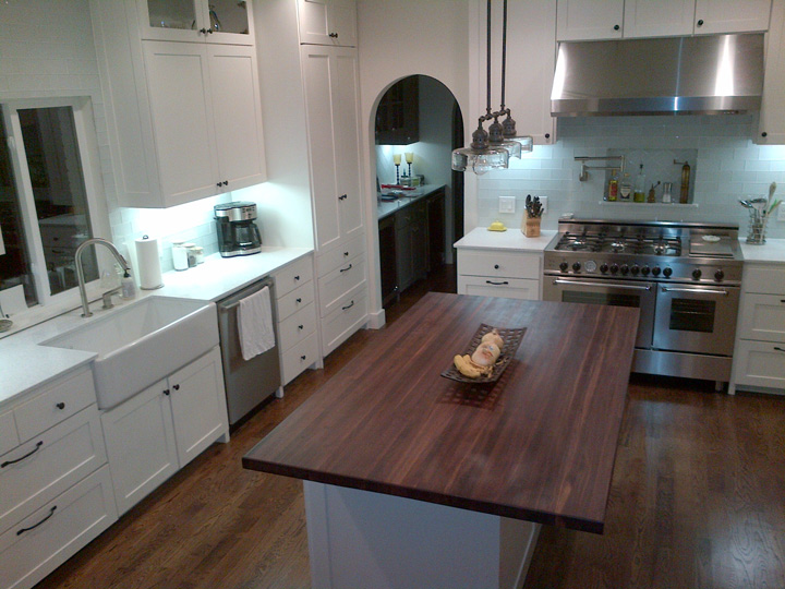 White Kitchen Island With Walnut Butcher Block Countertop : Photo Gallery - Butcher Block Countertops Stair Parts Wood Products - Page 5