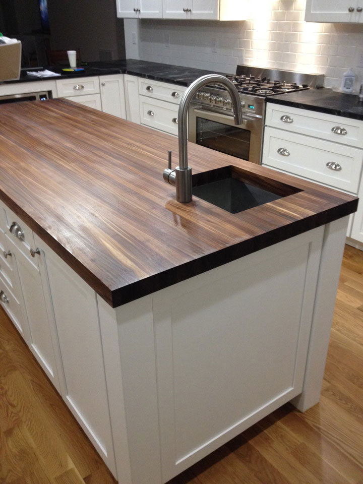 White Kitchen Island With Walnut Butcher Block Countertop : Walnut Butcher Block Countertops - Country Mouldings