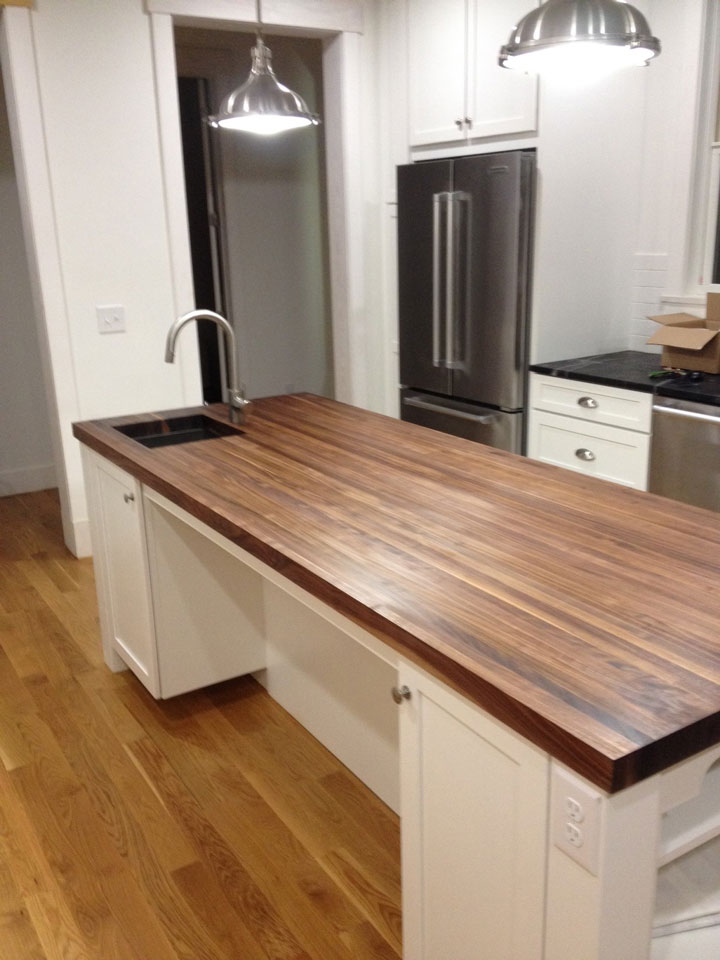 White Kitchen Island With Walnut Butcher Block Countertop : Photo Gallery - Butcher Block Countertops Stair Parts Wood Products - Page 10